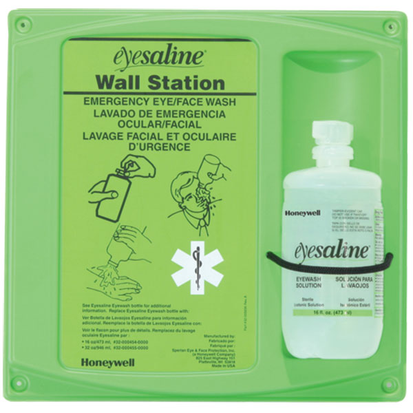 Honeywell® Eyesaline® Single Eyewash Wall Station, 16 oz