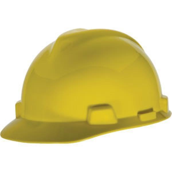 MSA V-Gard® Standard Slotted Cap w/ Staz-On® Suspension, Yellow