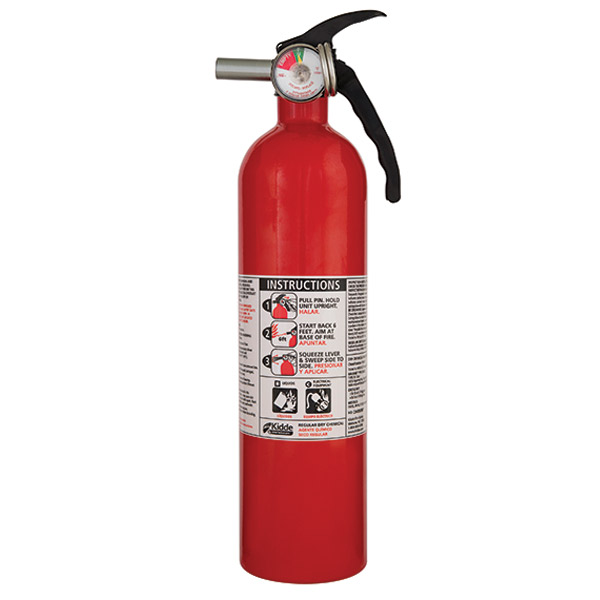 Kidde 2.75 lb BC Fire Extinguisher w/ Metal Valve & Plastic Strap Bracket (Disposable)
