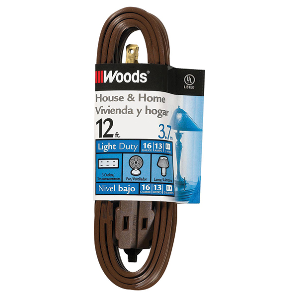 Cube Tap Extension Cord, 12', Brown