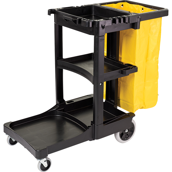 "Rubbermaid Cleaning Cart, 46""L x 38 3/8""H x 21 13/16""W, Black"