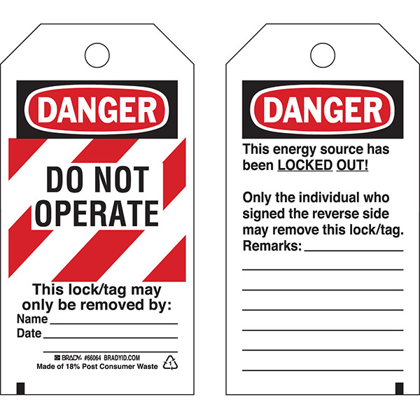 """Brady® Lockout Tag, Danger: """"Do Not Operate"""" Striped Cardstock, 5 3/4"""" x 3"""", 25/Pkg"""