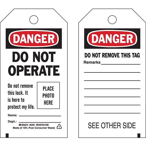 """Brady® Lockout Tag, Danger: """"Do Not Operate...Place Photo Here"""", Economy Polyester, 5 3/4"""" x 3"""", 10/Pkg"""