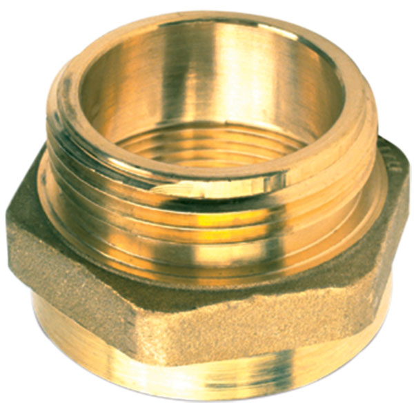 "Female x Male Brass Hexagon Adapter, 1 1/2"" PCT x 1 1/2"" NST"