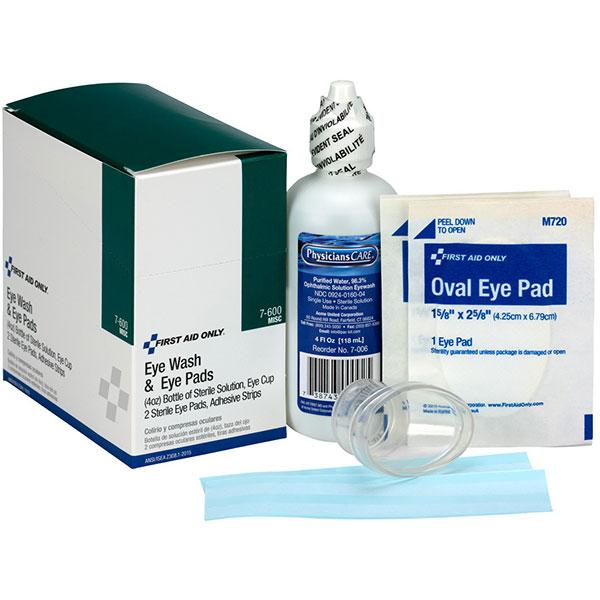 10-Pc Eyewash Kit w/ 4 oz Eyewash, (2) Eye Pads, (2) Adhesive Strips, & (1) Eye Cup