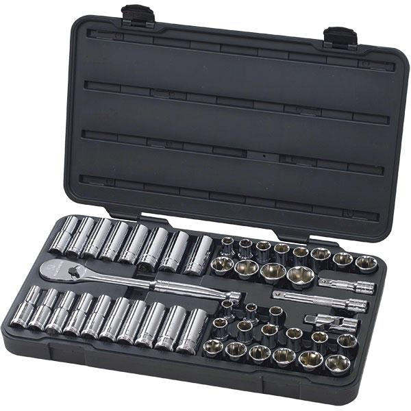"GearWrench® 49-Piece, 6-Point Standard & Deep Mechanics Tool Set, SAE/Metric, 1/2"" Drive"