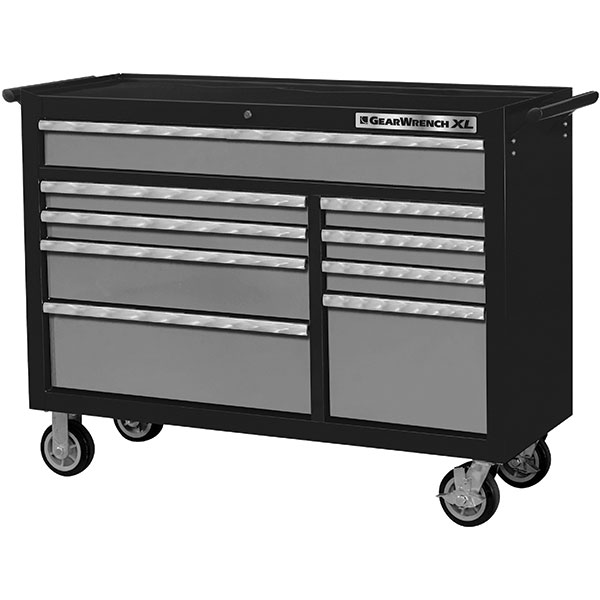 """GearWrench® XL Series 9-Drawer Roller Cabinet, 39 1/2""""H x 53""""W x 19""""D, Black/Silver"""