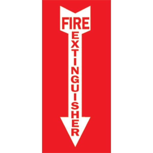 """Brady® """"Fire Extinguisher"""" w/ Arrow Sign, Self-Sticking Vinyl, 14"""" x 3 1/2"""""""
