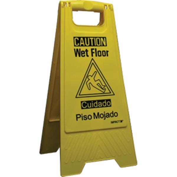 """""""Wet Floor"""" Sign, Bilingual, 10 3/4"""" x 24 5/8"""""""