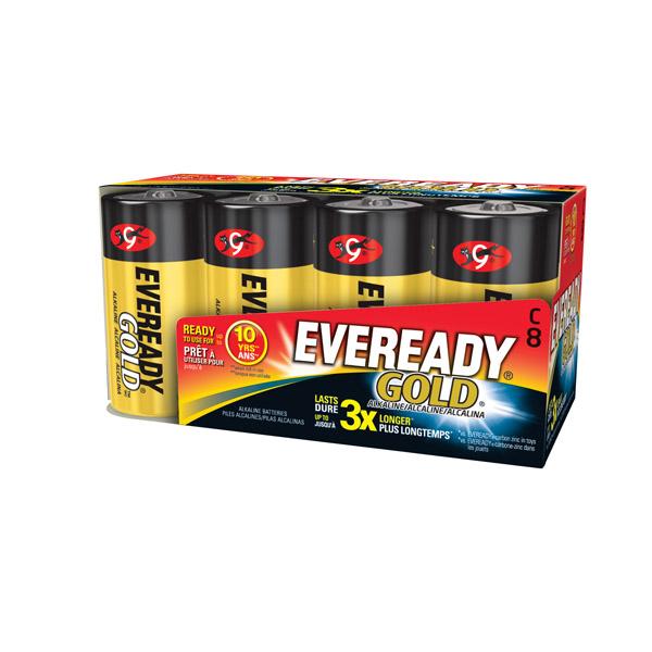 Eveready® Gold® Alkaline C Batteries, 8/Pkg