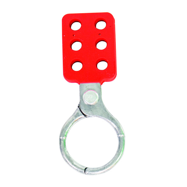 """TruForceâ""""¢ Safety Lockout Hasp, Vinyl-Coated Aluminum w/ 1 1/2"""" Jaws"""