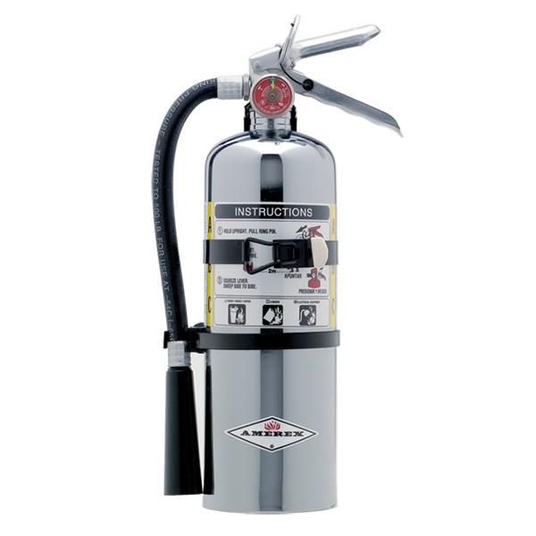 Amerex® 5 lb ABC Chrome Extinguisher w/ Vehicle/Marine Bracket