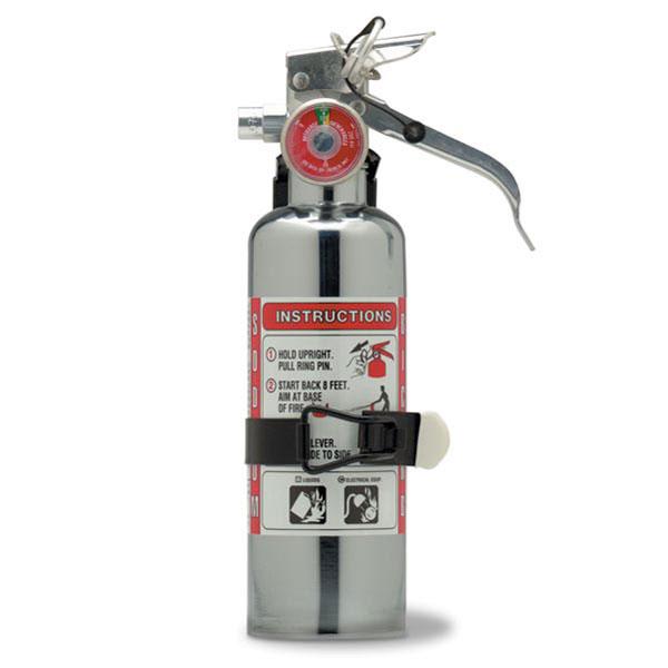 Amerex® 1 lb BC Chrome Extinguisher w/ Aluminum Valve & Vehicle Bracket