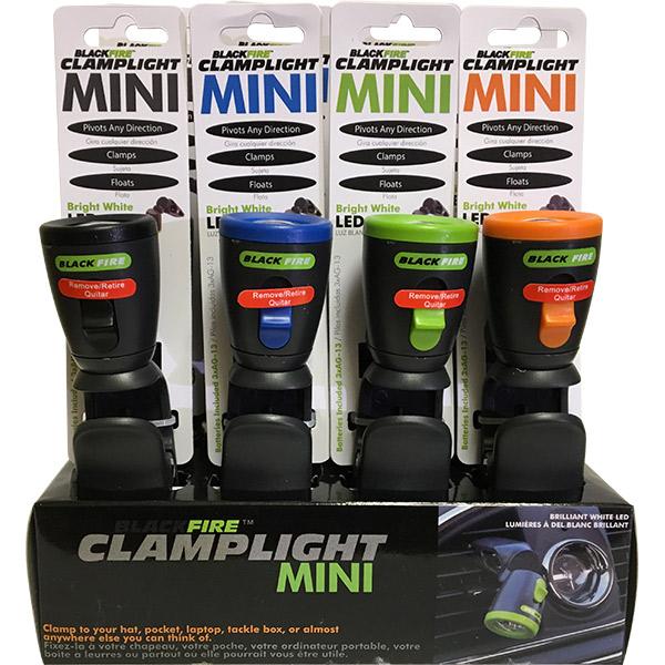 Blackfire® 3LR44 LED Mini Clamplight, Black, Orange, Green, Blue, 12/Pkg