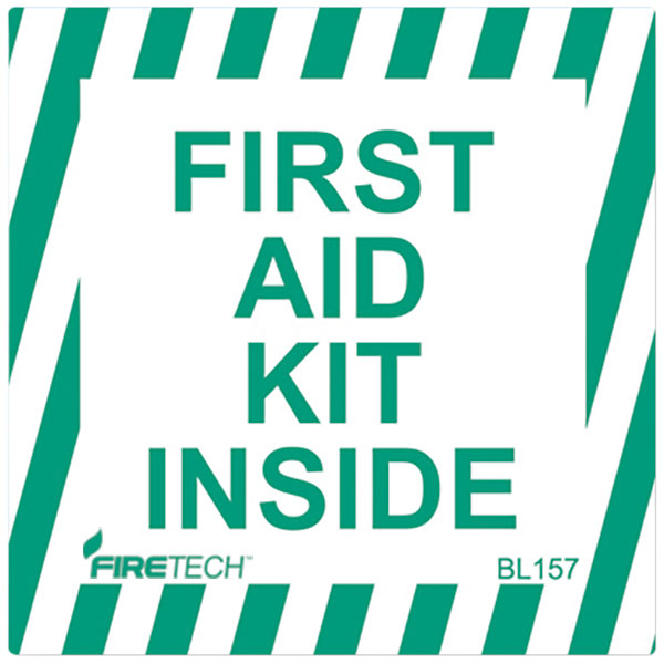 """First Aid Kit Inside"", Self-Adhesive, Vinyl, 4"" x 4"""