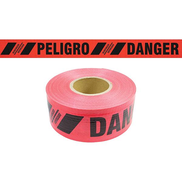 "Reinforced Bilingual Barricade Tape, ""Danger/Peligro"", Red"