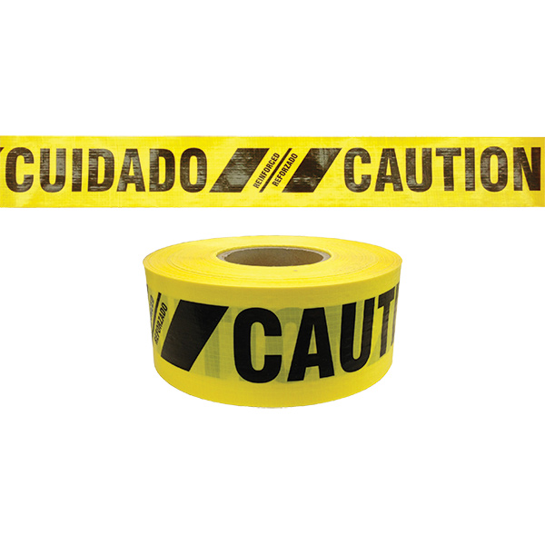 "Reinforced Bilingual Barricade Tape, ""Caution/Cuidado"", Yellow"