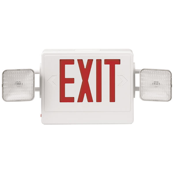 Combination Red Exit/Lighting Unit, White