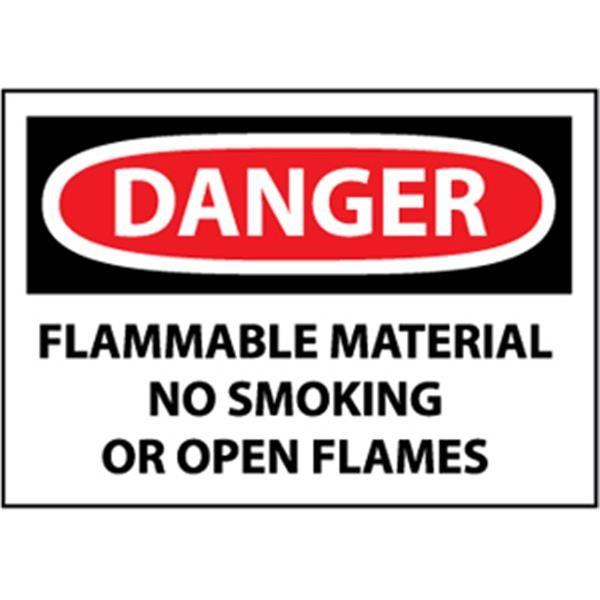 "NMC™ OSHA ""Danger Flammable Material No Smoking…"" Sign, Rigid Plastic, 10"" x 14"""