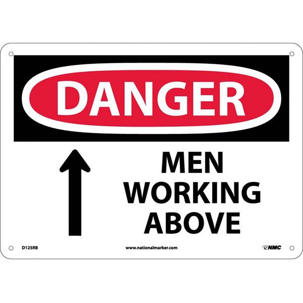 "NMCâ""¢ OSHA ""Danger Men Working Above"" Sign, Rigid Plastic, 10"" x 14"""