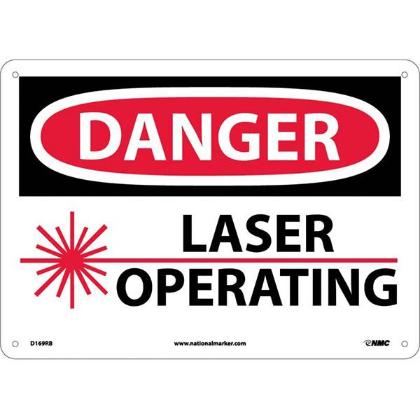"NMCâ""¢ OSHA ""Danger Laser Operating"" Sign, Rigid Plastic, 10"" x 14"""
