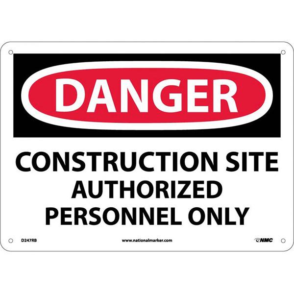 """NMCâ""""¢ OSHA """"Danger Consturction Site Authorized Personnel Only"""" Sign, Rigid Plastic, 10"""" x 14"""""""