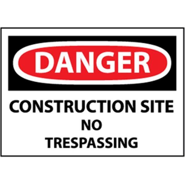 "NMCâ""¢  OSHA ""Danger Construction Site No Treaspassing"" Sign, Rigid Plastic, 10"" x 14"""