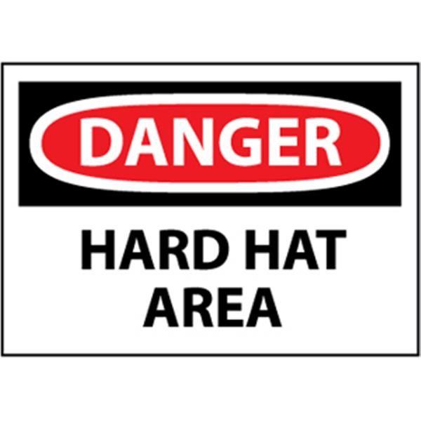 "NMCâ""¢ OSHA ""Danger Hard Hat Area"" Sign, Rigid Plastic, 10"" x 14"""