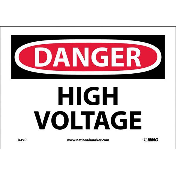 "NMCâ""¢ OSHA ""Danger High Voltage"" Sign, Pessure Sensitive Vinyl, 7"" x 10"""