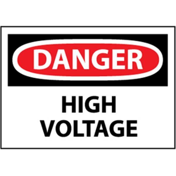 "NMCâ""¢ OSHA ""Danger High Voltage"" Sign, Rigid Plastic, 10"" x 14"""