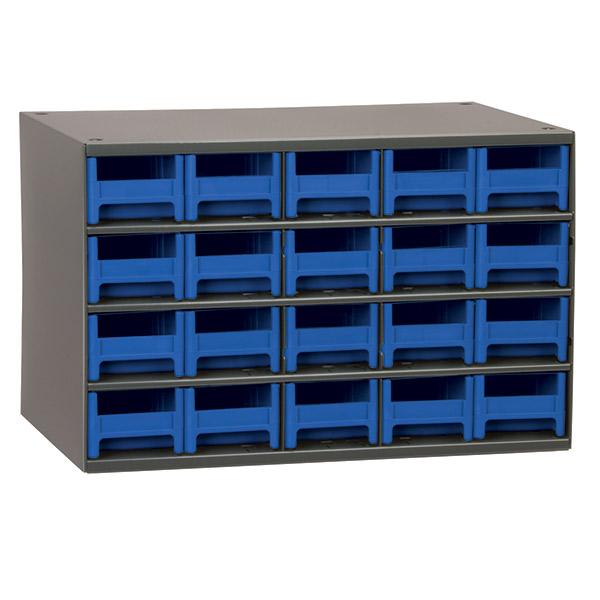 "Akro-Mils® 19 Series Heavy-Duty Steel Storage Cabinet, 20 Drawer (Drawer Dimensions: 2 1/16""H x 3 3/16""W x 10 9/16""D), Blue"
