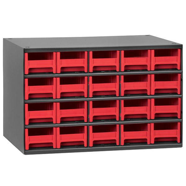 "Akro-Mils® 19 Series Heavy-Duty Steel Storage Cabinet, 20 Drawer (Drawer Dimensions: 2 1/16""H x 3 3/16""W x 10 9/16""D), Red"