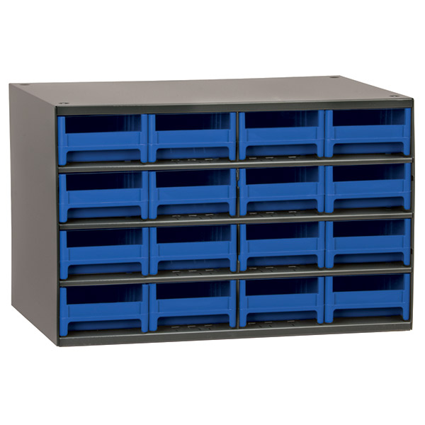 "Akro-Mils® 19 Series Heavy-Duty Steel Storage Cabinet, 16 Drawer (Drawer Dimensions: 2 1/8""H x 4""W x 10 9/16""D), Blue"