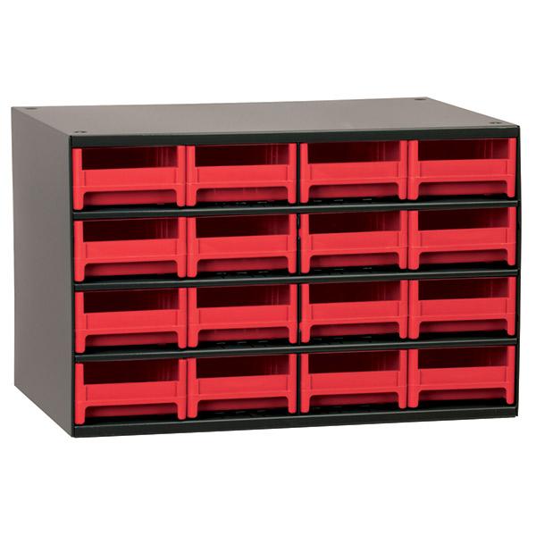 "Akro-Mils® 19 Series Heavy-Duty Steel Storage Cabinet, 16 Drawer (Drawer Dimensions: 2 1/8""H x 4""W x 10 9/16""D), Red"