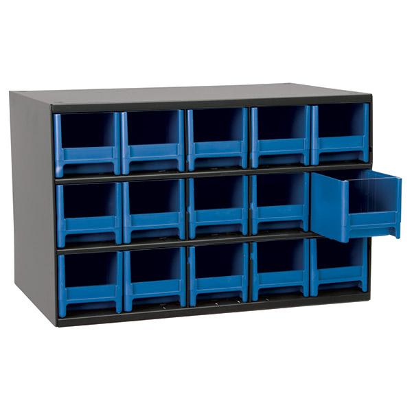 "Akro-Mils® 19 Series Heavy-Duty Steel Storage Cabinet, 15 Drawer (Drawer Dimensions: 3 1/16""H x 3 3/16""W x 10 9/16""D), Blue"