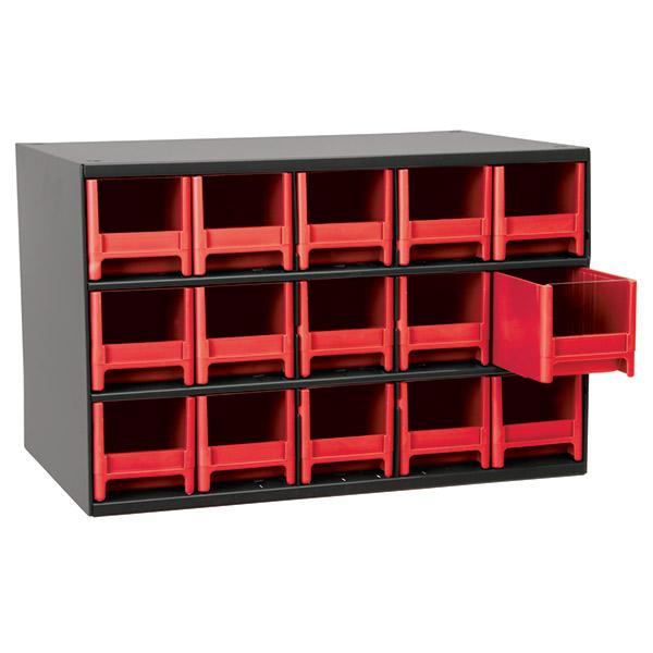 "Akro-Mils® 19 Series Heavy-Duty Steel Storage Cabinet, 15 Drawer (Drawer Dimensions: 3 1/16""H x 3 3/16""W x 10 9/16""D), Red"