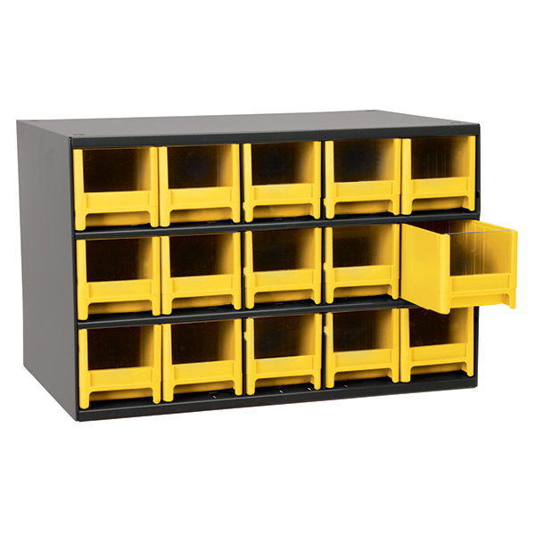 "Akro-Mils® 19 Series Heavy-Duty Steel Storage Cabinet, 15 Drawer (Drawer Dimensions: 3 1/16""H x 3 3/16""W x 10 9/16""D), Yellow"