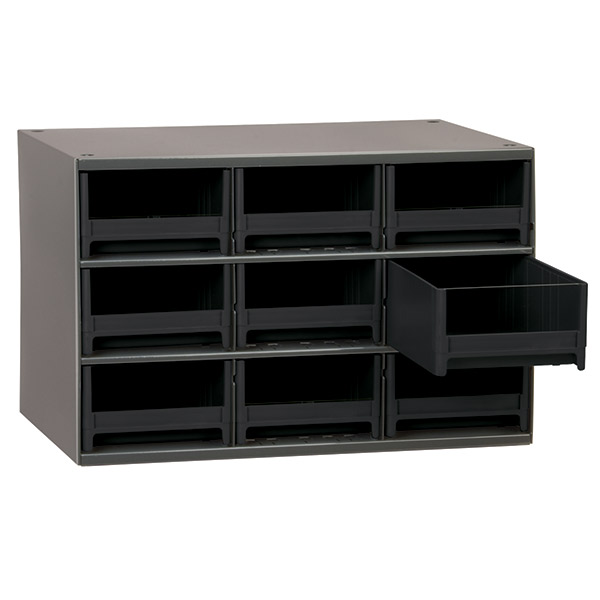 "Akro-Mils® 19 Series Heavy-Duty Steel Storage Cabinet, 9 Drawer (Drawer Dimensions: 3 1/16""H x 5 3/16""W x 10 9/16""D), Black"