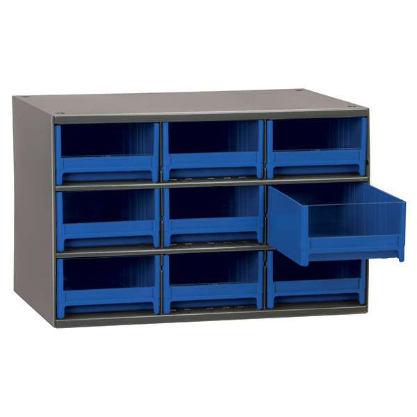 "Akro-Mils® 19 Series Heavy-Duty Steel Storage Cabinet, 9 Drawer (Drawer Dimensions: 3 1/16""H x 5 3/16""W x 10 9/16""D), Blue"