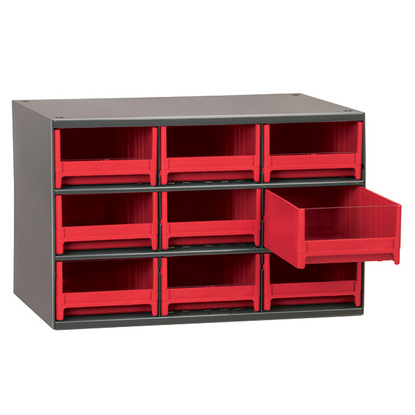 "Akro-Mils® 19 Series Heavy-Duty Steel Storage Cabinet, 9 Drawer (Drawer Dimensions: 3 1/16""H x 5 3/16""W x 10 9/16""D), Red"