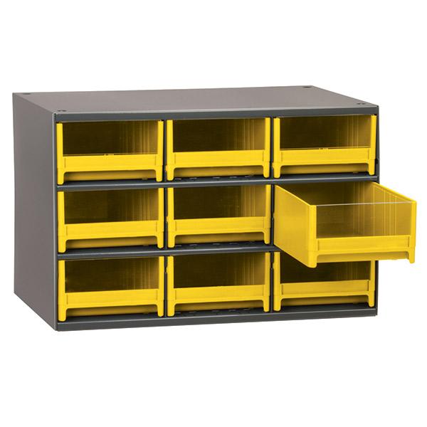 "Akro-Mils® 19 Series Heavy-Duty Steel Storage Cabinet, 9 Drawer (Drawer Dimensions: 3 1/16""H x 5 3/16""W x 10 9/16""D), Yellow"