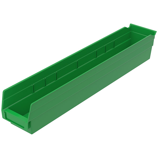 "Akro-Mils® Shelf Bin, 23 5/8""L x 4""H x 4 1/8""W, Green"
