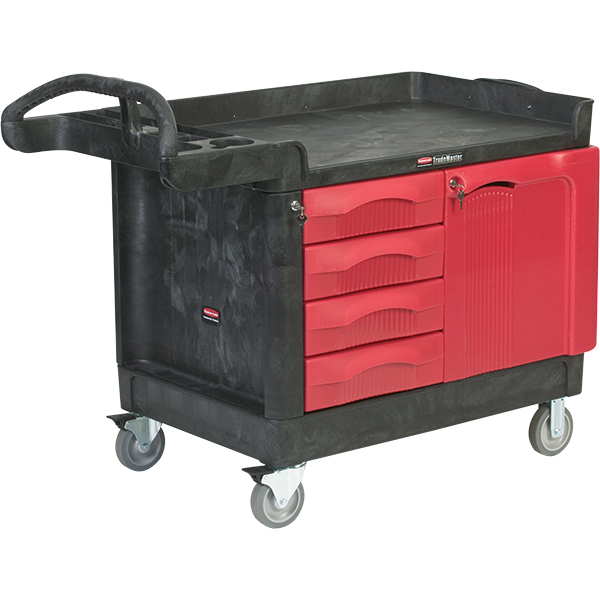 "Rubbermaid TradeMaster Mobile Cart, 49""L x 38""H x 26 3/16""W, Black"