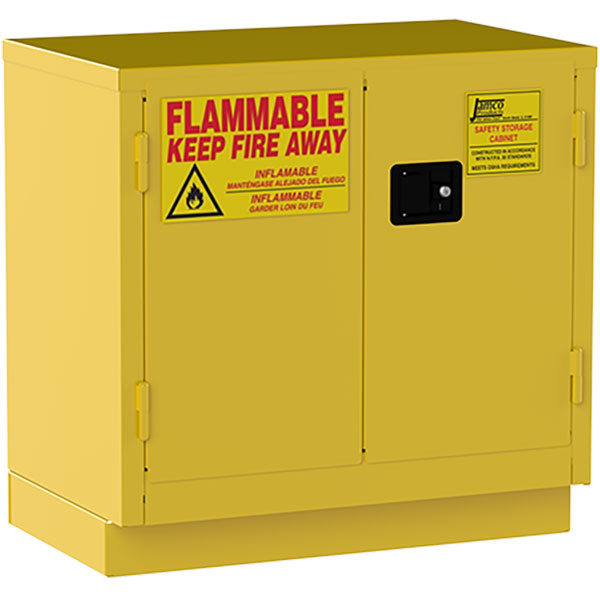 """Jamco Safety Cabinet, Under Counter, 22 gal, Self-Closing Doors, 35""""H x 36""""W x 22""""D"""