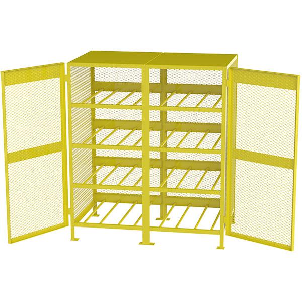 Jamco Horizontal Storage Cylinder Cabinet, Propane, 16 Cylinders, 71H x 64W x 40D