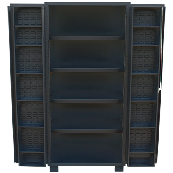 """Jamco Bin & Shelf Cabinet, 4"""" Deep Doors, 78""""H x 48""""W x 24""""D"""