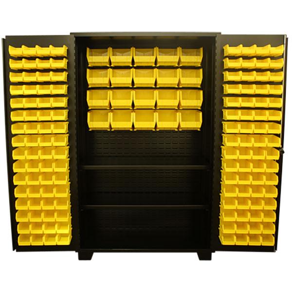 """Jamco Bin & Shelf Cabinet, Louvered Doors, 78""""H x 48""""W x 24""""D"""