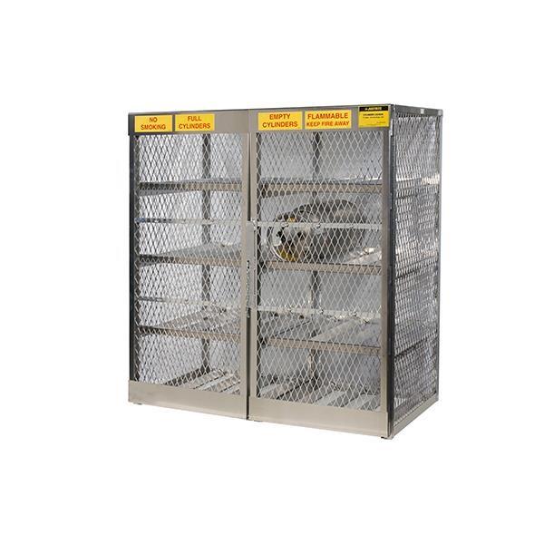 "Justrite® Pressurized Gas Cylinder Locker, Horizontal, 65""H x 60""W x 32""D"