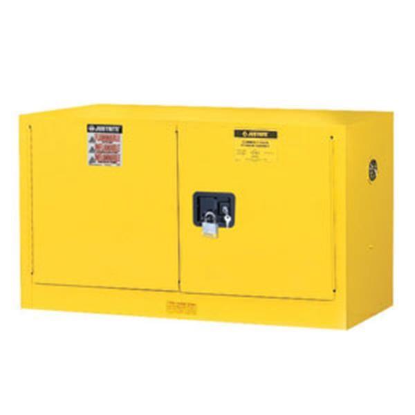 Justrite® Sure-Grip® EX Piggyback/Wall Cabinet w/ Manual Doors & 1 Shelf, 17 gal