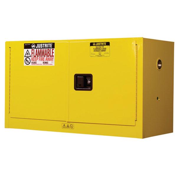 Justrite® Sure-Grip® EX Piggyback/Wall Cabinet w/ Self-Close Doors & 1 Shelf, 17 gal